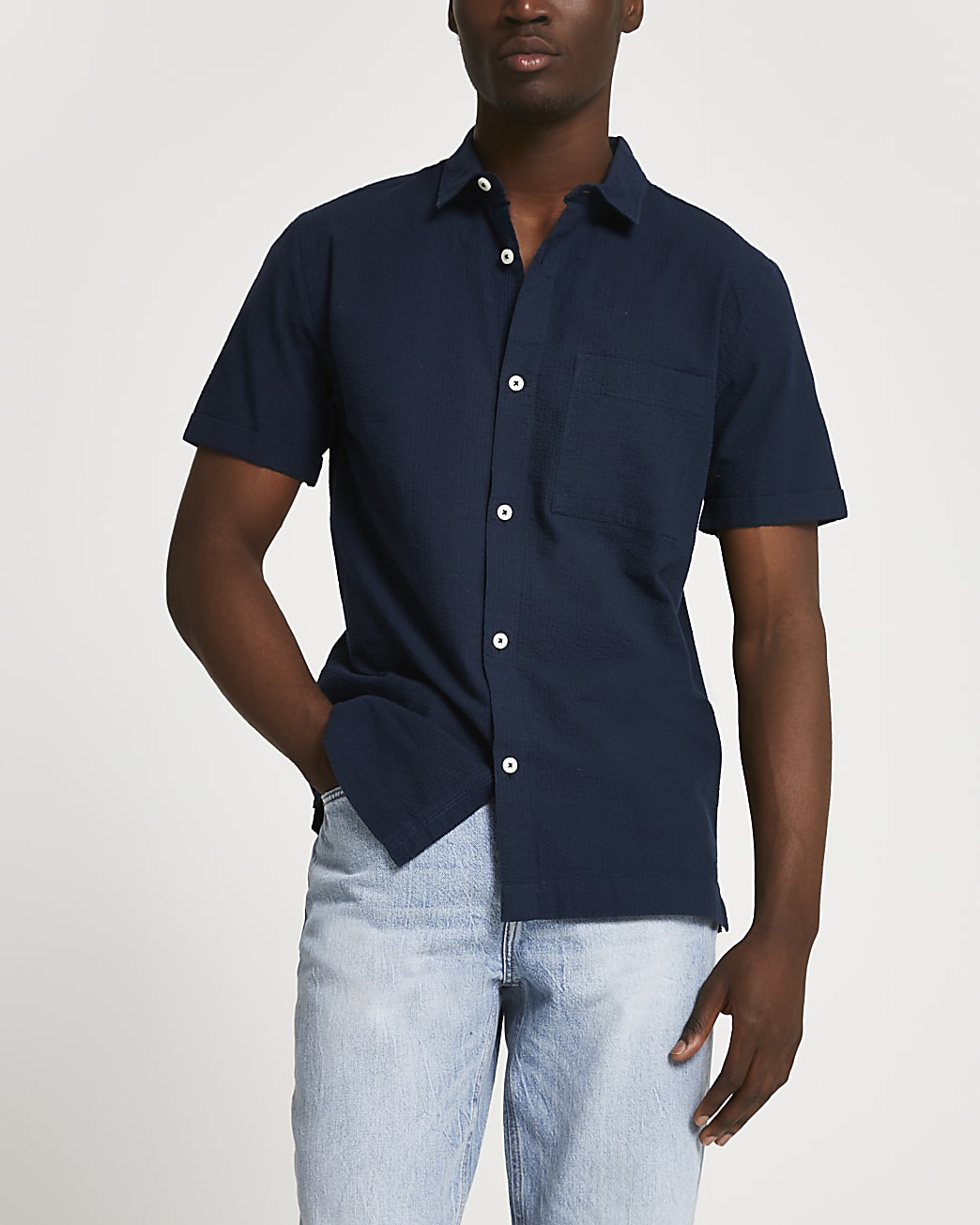 Navy textured short sleeve shirt