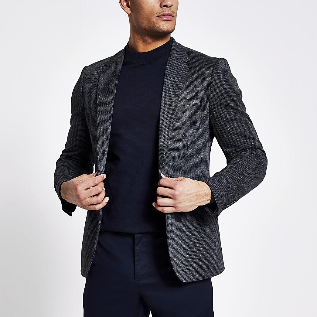 Navy textured skinny fit blazer