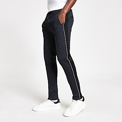 Navy textured skinny smart joggers