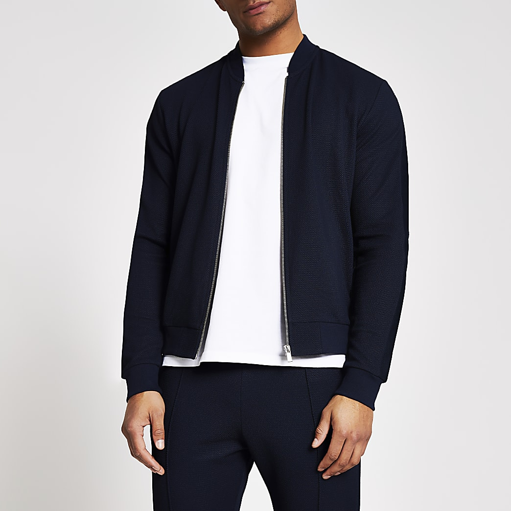 Navy textured slim fit bomber jacket