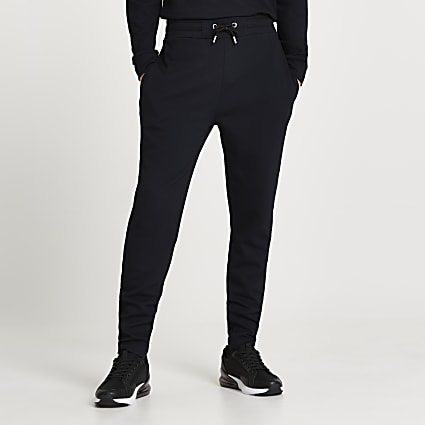 Navy textured slim fit joggers