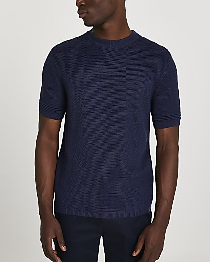 Navy textured slim fit knitted t-shirt