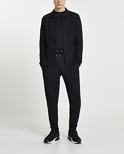 Navy textured slim fit shacket