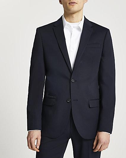 Navy textured slim fit suit jacket