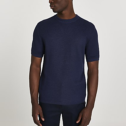 Navy textured slim fit t-shirt