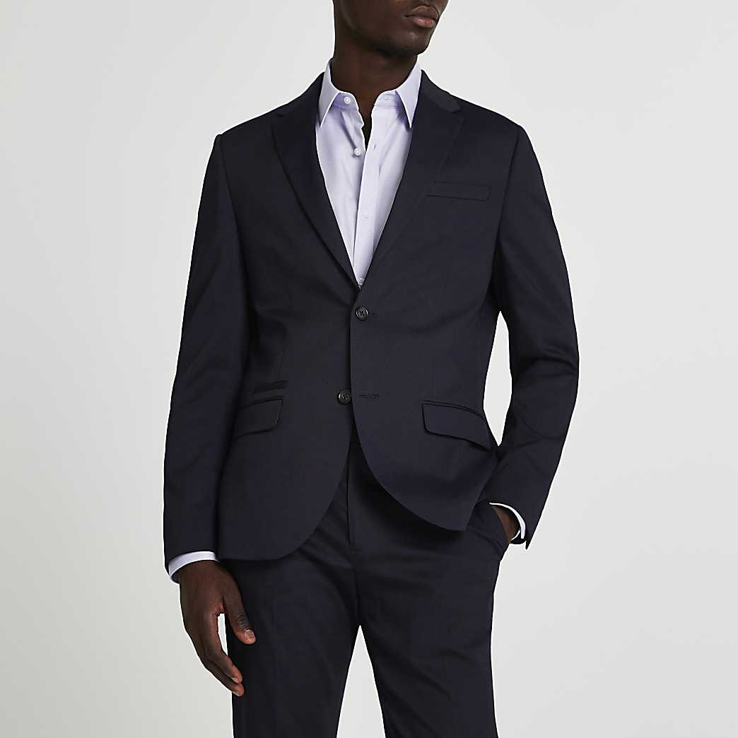 Navy textured stretch skinny suit jacket
