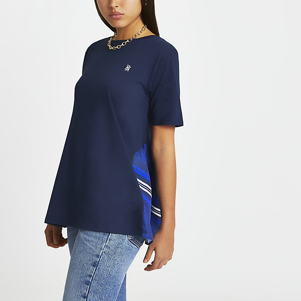 Navy tie back detail t-shirt