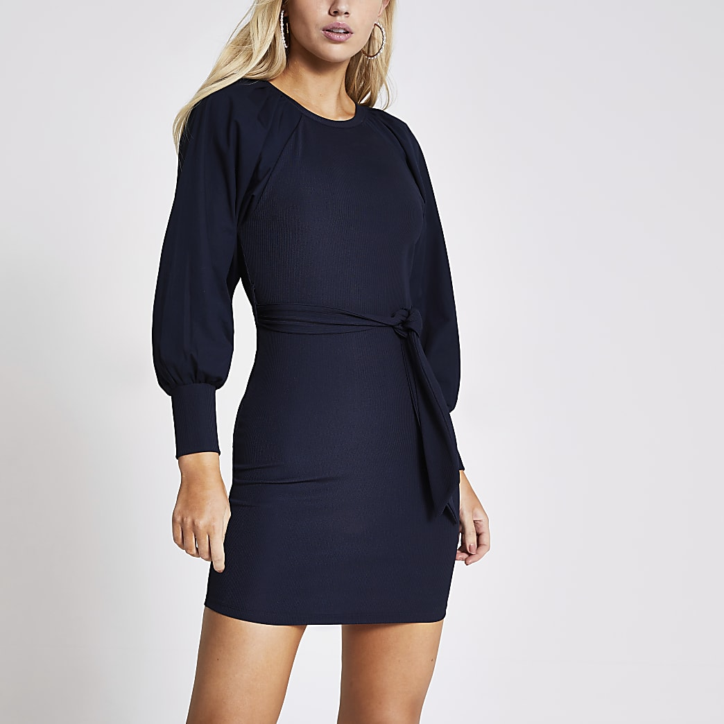 Navy tie belted poplin long sleeve mini dress
