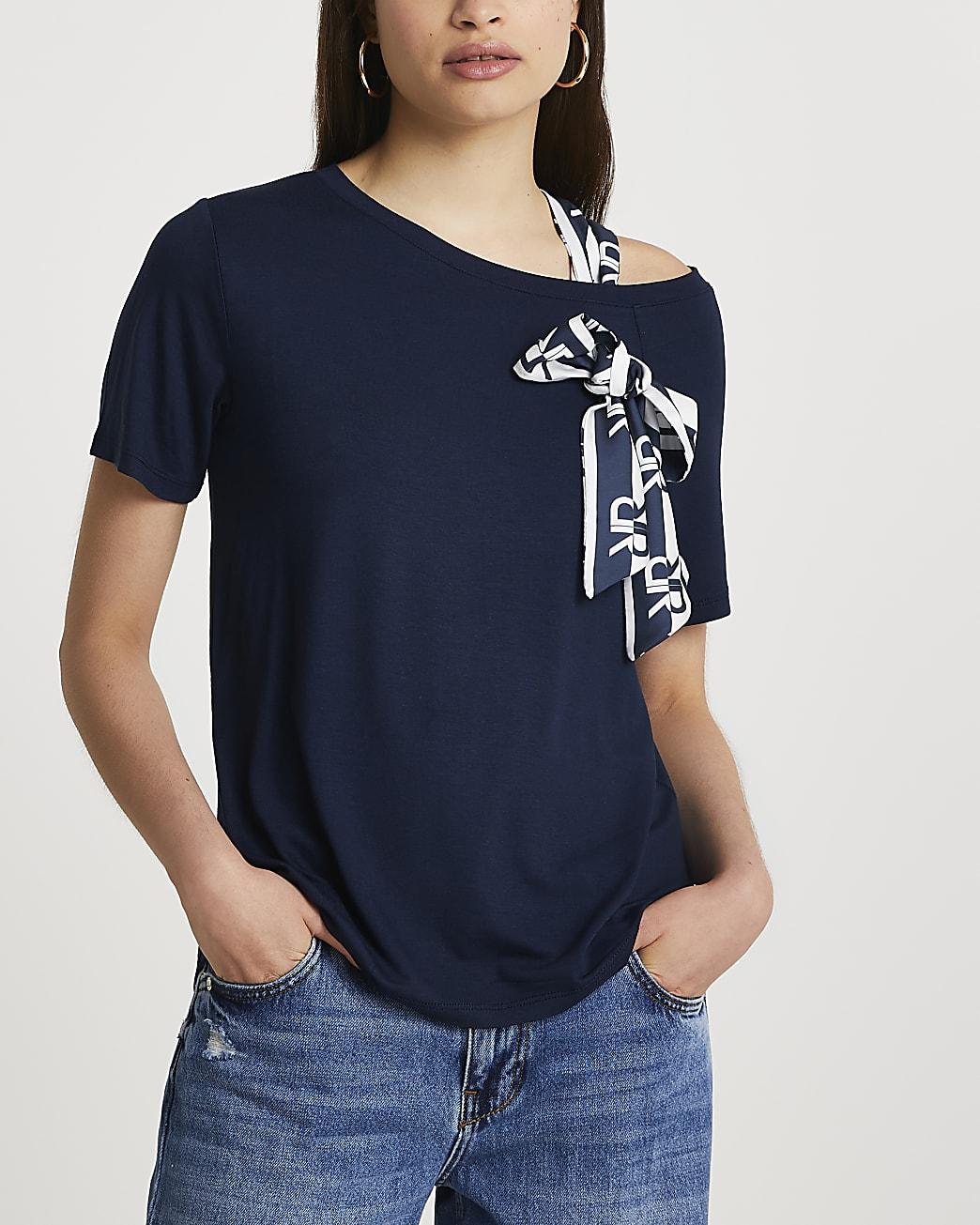 Navy tie shoulder t-shirt
