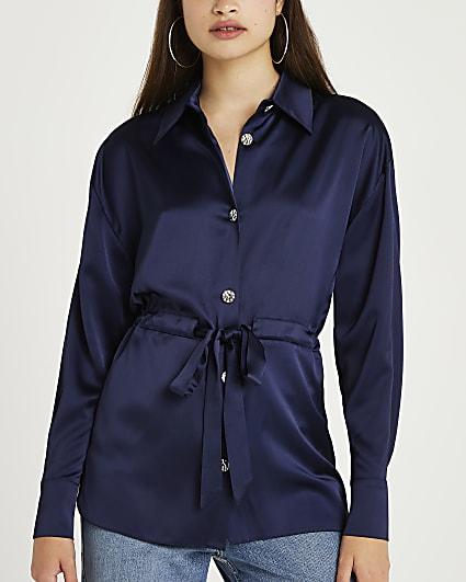 Navy tie waist embellished shirt