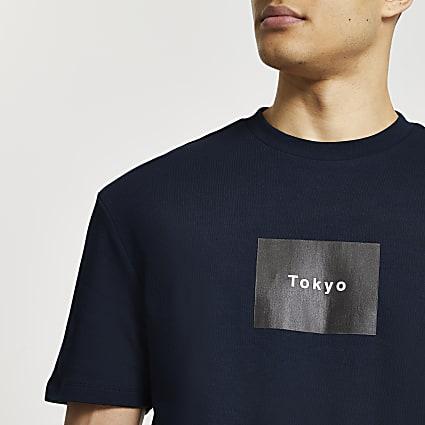Navy Tokyo slim fit t-shirt