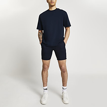 Navy turn up skinny fit shorts