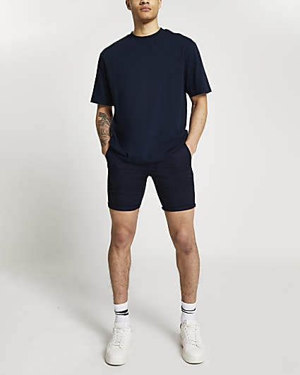 Navy turn up skinny fit shorts