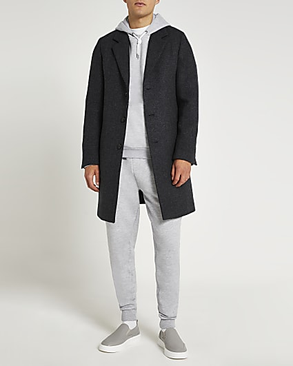Navy twill button down wool coat