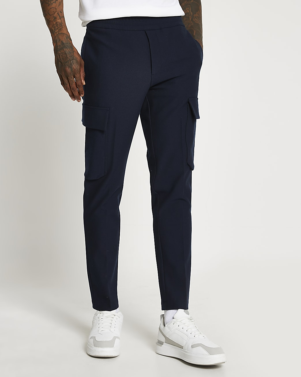 Navy twill cargo trousers