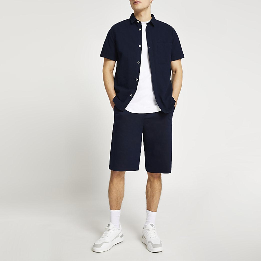 Navy twill skater shorts