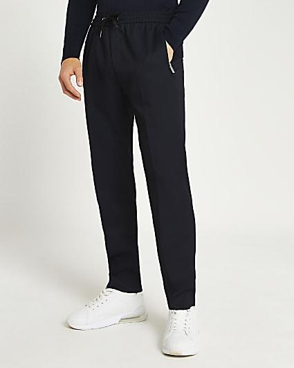 Navy twill slim fit joggers