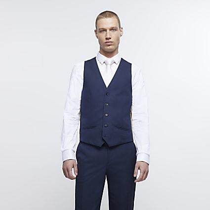 Navy twill suit waistcoat