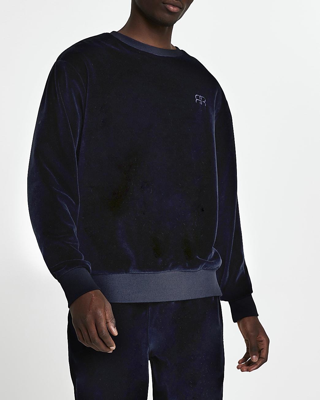 Navy velour 'RR' crew sweatshirt