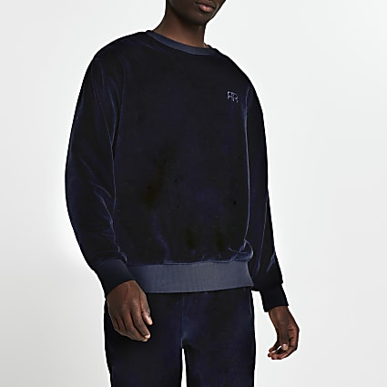 Navy velour 'RR' crew sweatshirt