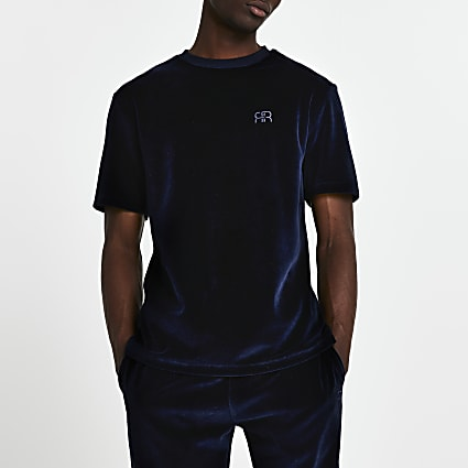 Navy velour 'RR' short sleeve t-shirt