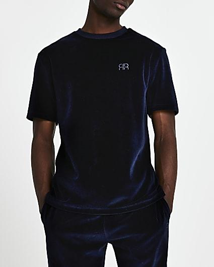 Navy velour 'RR' short sleeve t-shirt