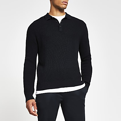 Navy waffle knitted long sleeve jumper
