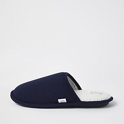 Navy waffle mule slipper