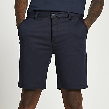 Navy washed slim fit chino shorts