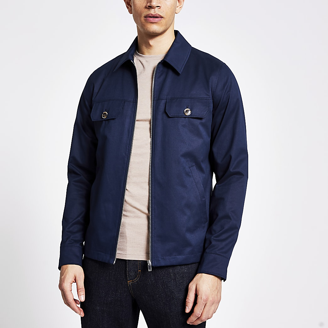 Navy water resistant shacket
