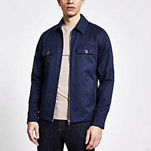 Marineblaue, wasserfeste Jacke mit Reißverschluss vorne