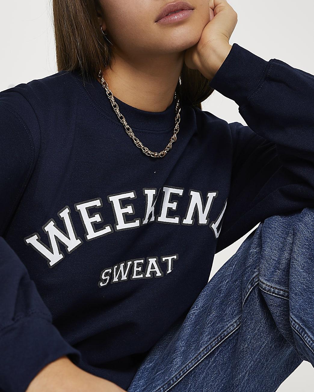 Navy 'Weekend Sweat' long sleeve sweatshirt