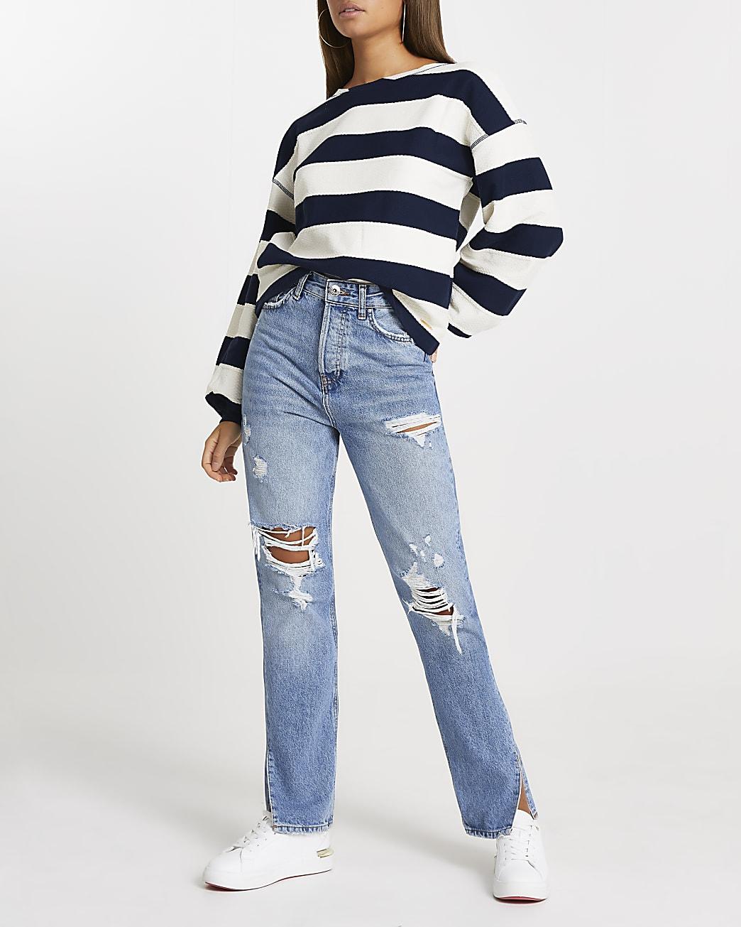 Navy wide stripe textured sweatshirt