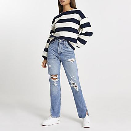 Navy wide stripe textured sweatshirt
