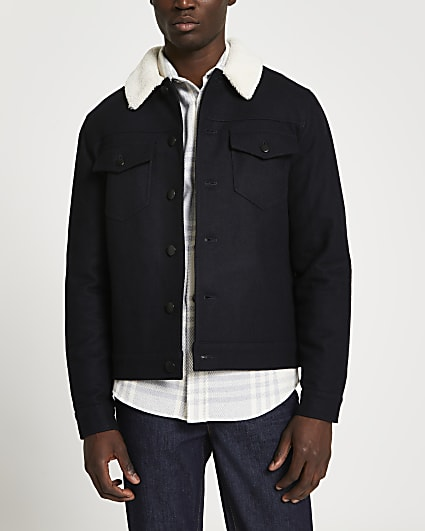 Navy wool borg collar jacket