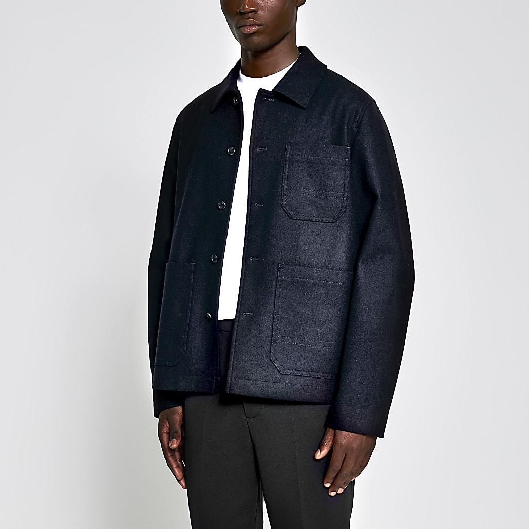 Navy wool boxy fit jacket