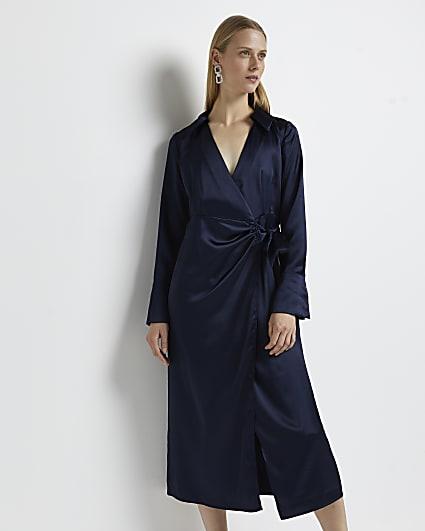 Navy wrap midi dress