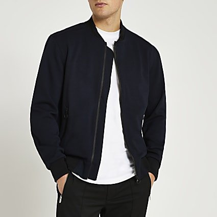 Navy zip front bomber jacket
