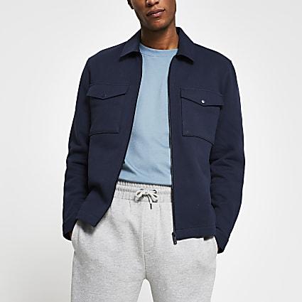 Navy zip front long sleeve overshirt