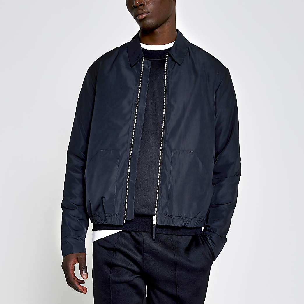 Navy zip front nylon jacket
