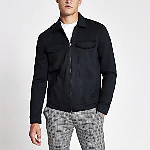 Navy zip front skinny Western jacket