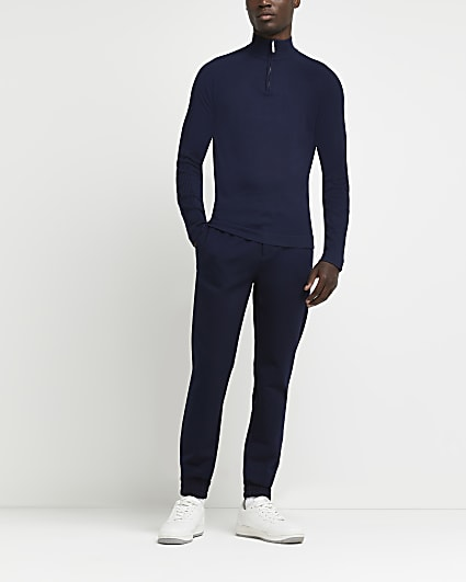 Navy zip funnel neck slim fit jumper
