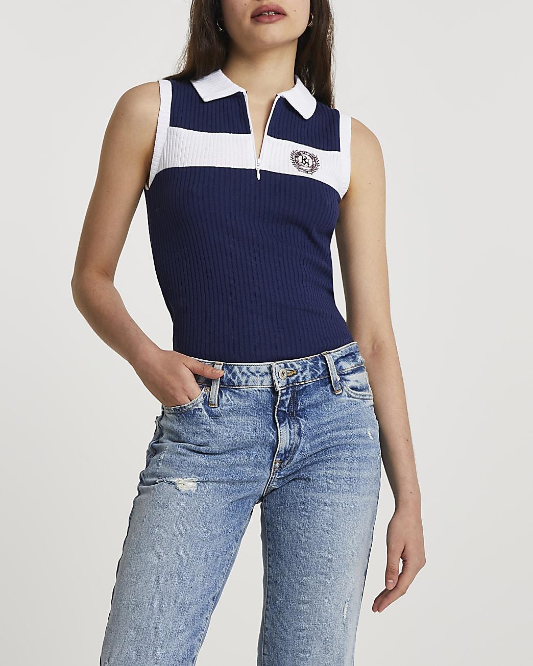 Navy zip neck polo top