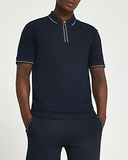 Navy zip slim fit short sleeve polo shirt