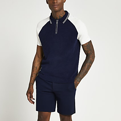 Navy zip towelling short sleeve polo shirt