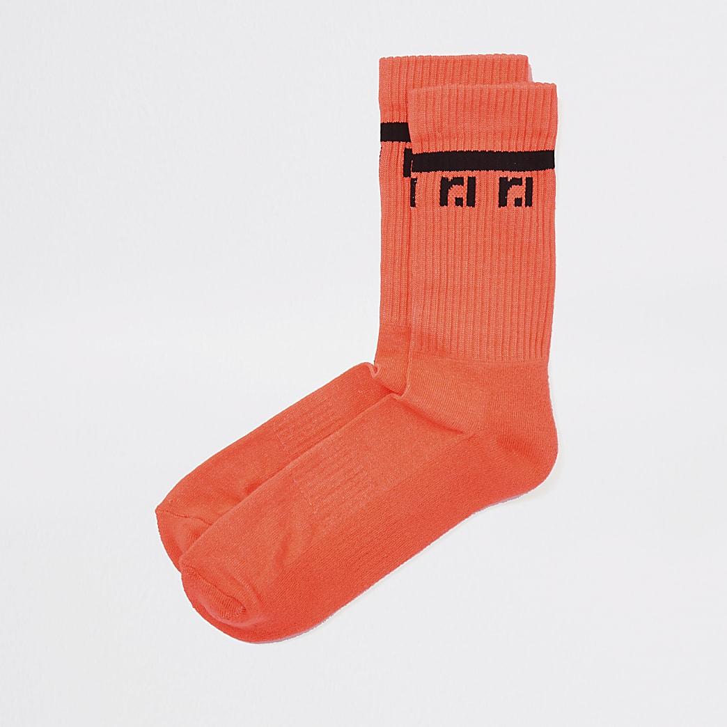 Neon coral RI tube socks