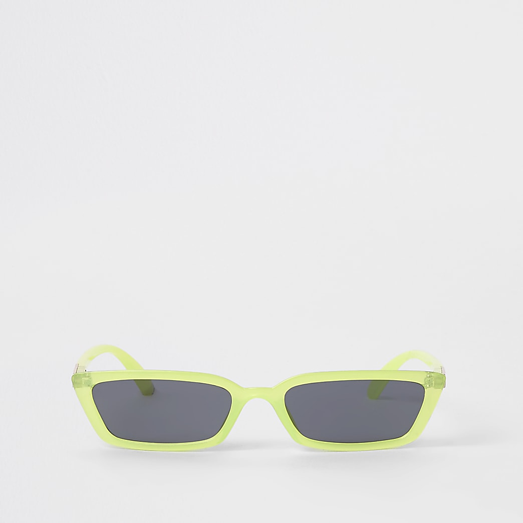 Neon green slim frame sunglasses