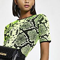 Neon green snake print knitted T-shirt