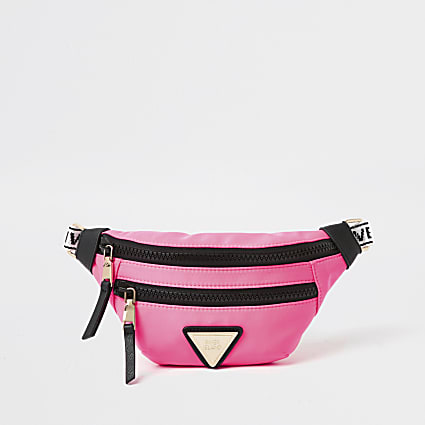 Neon pink nylon double zip bum bag