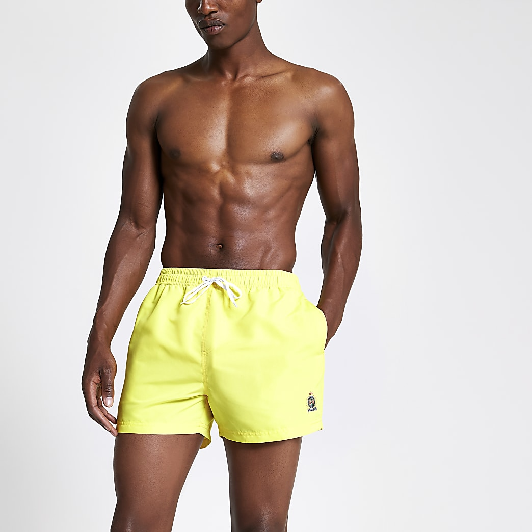 Neon yellow RI crest short swim shorts
